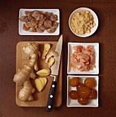 Ginger, fresh, crystallised, preserved and ground