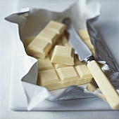White chocolate in silver paper