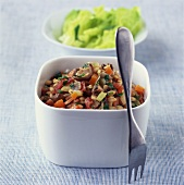 Mixed vegetables with pearl barley and mushrooms