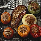 Stuffed vegetables on baking tray
