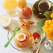 Easter breakfast with soft-boiled egg and baked bunny