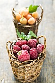 Red and yellow raspberries in two small baskets