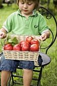 Child holding basket of nectarines