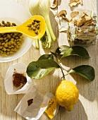 Capers, fennel, dried mushrooms, saffron and lemon