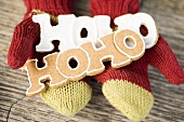 Hands in woollen mittens holding gingerbread (the word Hoho)