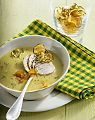 Pumpkin & courgette soup with vegetable crisps & chicken breast
