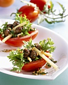 Tomato boats filled with meatballs