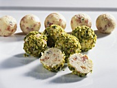 Cheese balls coated with chopped pistachios