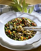 Colourful lentil stew with chicken