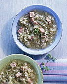 Sauerkraut soup with pork and pearl barley (Estonia)