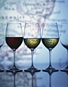 Glasses of white and red wines from Australia