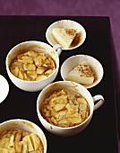Apple puddings with cinnamon and vanilla parfait