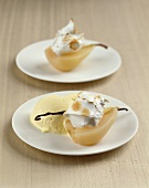 Poached pears with cream and advocaat parfait