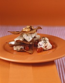Tower of Melba toast, blue cheese and rowan berries