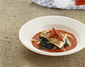 Zander in pepper sauce with chard