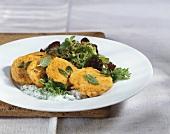 Pumpkin rösti with salad leaves and herb yoghurt