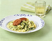 Sausage with potatoes and cabbage