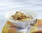 Potato soup with bacon, mushrooms and bread (Austria)