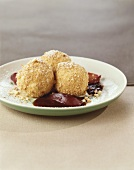 Quark dumplings with plum sauce