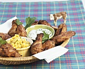 Chicken wings with sweetcorn and herb dip for children