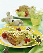 Pasta cake with peas and sweetcorn for children