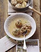 Zuppa con i canederli allo speck (Bacon dumpling soup, Italy)