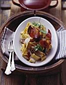 Pappardelle ai porcini (Ribbon pasta with ceps and bacon)