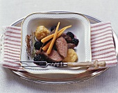Lepre in salsa di more (Saddle of hare with blackberry sauce)
