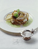Millefeuilles of turbot, ceps and aubergines