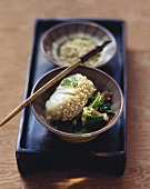 Zander fillet with sesame seeds and savoy cabbage
