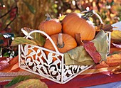 Orange pumpkins in basket with autumn leaves and napkin