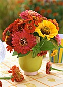 Zinnias in green vase (late summer)