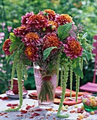 Vase of dahlias, love-lies-bleeding and sea lavender