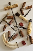 Assorted corkscrews and wine corks