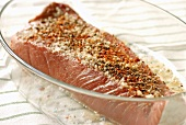 Raw tuna fillet with spices