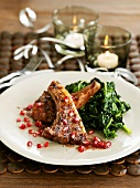 Lamb chops with pomegranate seeds & spinach for Christmas