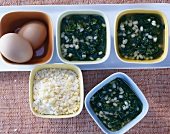 Spinach and barley soup with chopped egg (Baltic)