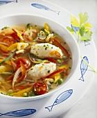Mediterranean vegetable stew with stockfish dumplings