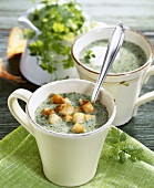 Maundy Thursday soup (chervil soup) with croutons