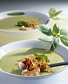 Basil soup with fried shrimps
