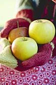 Child's hands in woollen mittens holding apples