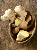 Ginger root in coconut shell