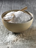 Coarse rock salt in bowl and on spoon