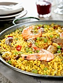 Paella with seafood in pan