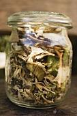 Dried ceps in a storage jar