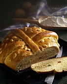 Old German Easter bread with almonds