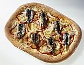 Sardine and onion pizza