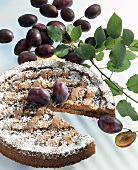 Almond cake with plum jam filling