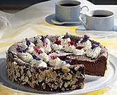 Chocolate cheesecake with candied violets