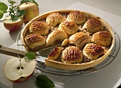 Apple tart on cake rack